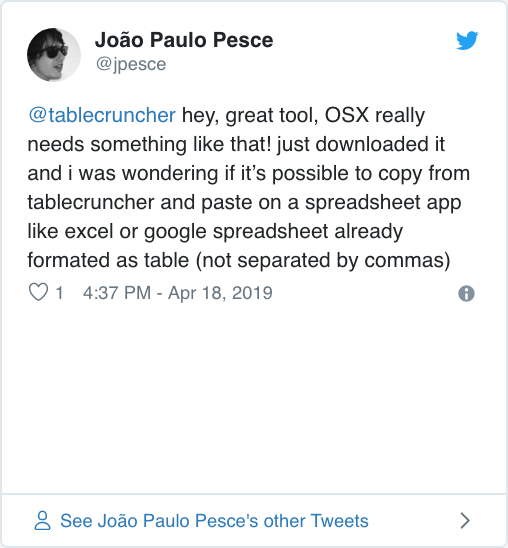 Tablecruncher – Lightweight CSV editor for your Mac
